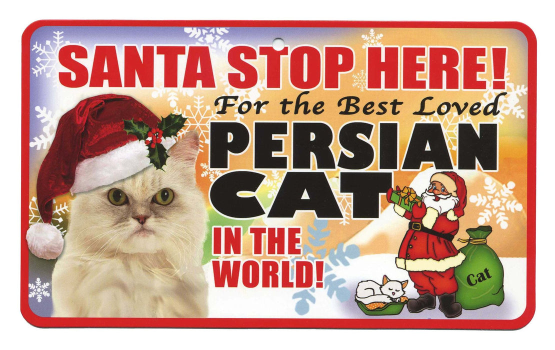 PSS083 Santa Stop Here Sign - Maine Coon Cat