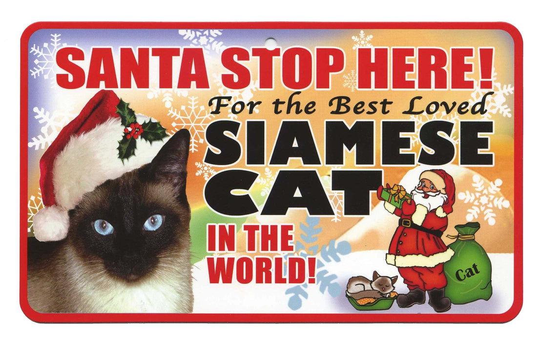 PSS085 Santa Stop Here Sign - Ragdoll Cat