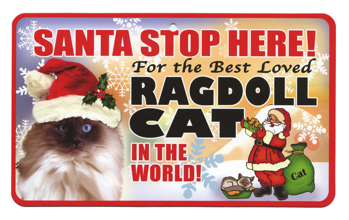 PSS086 Santa Stop Here Sign - Best Loved Cat