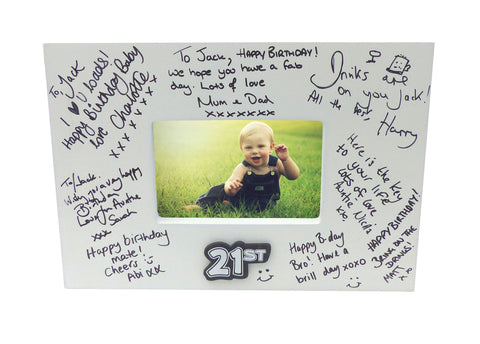 Sign It Birthday Signature Frame with Pen - ages 18 21 30 40 50 60