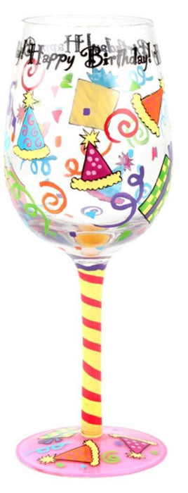 T2074A Happy Birthday Wine Glass