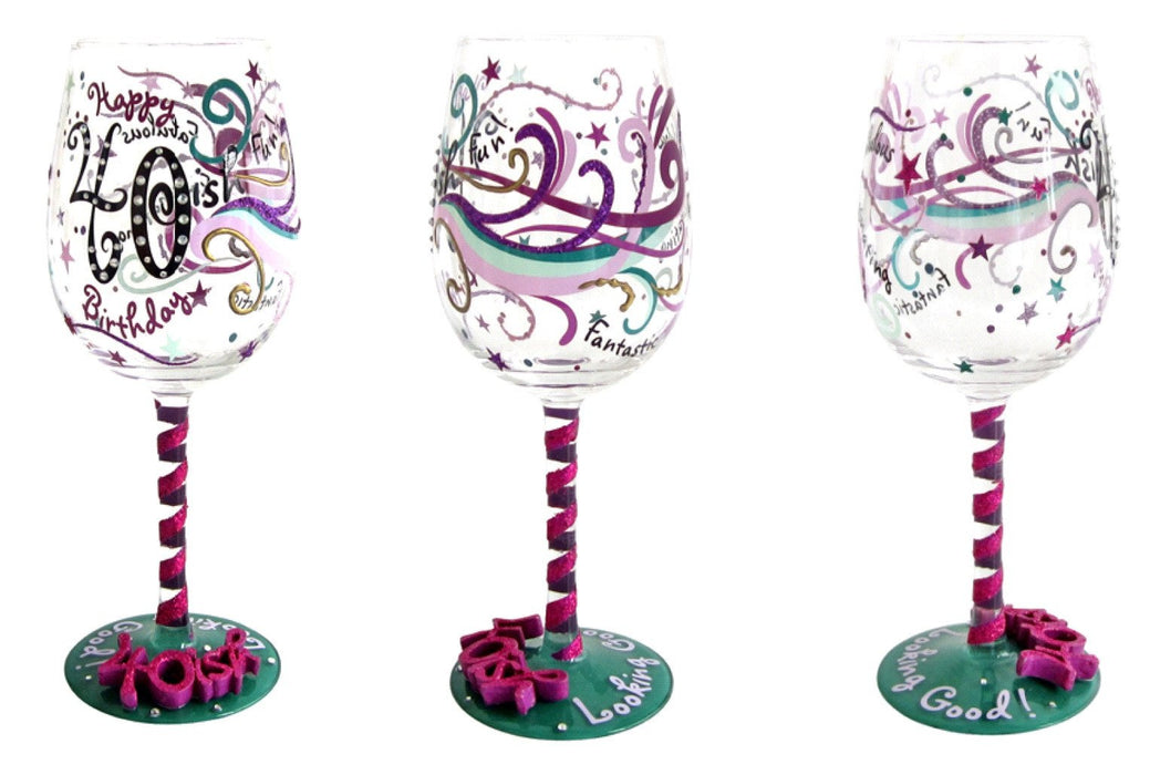 Top Shelf 40Th Wine Glass