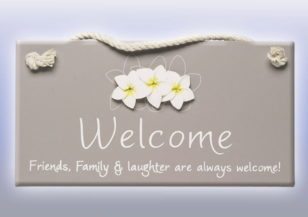 Splosh Frangipani Flowers Welcome Sign