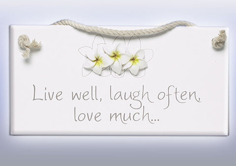 Splosh Frangipani Live Laugh Love Sign