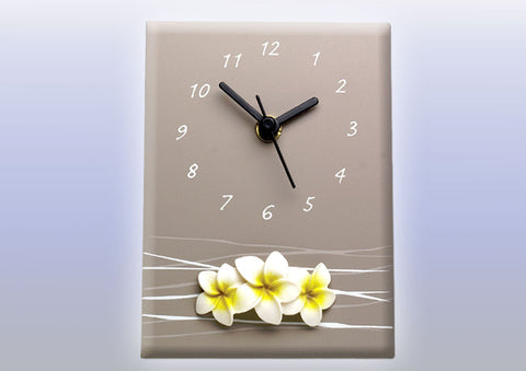 Splosh Frangipani Flowers Desk Clock