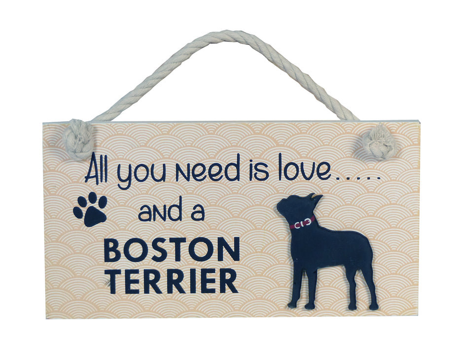 Wooden Pet Sign - Boston Terrier