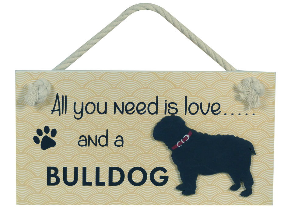 Wooden Pet Sign - Bulldog
