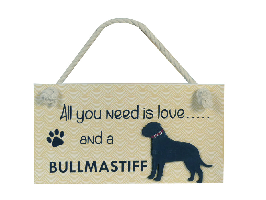 Wooden Pet Sign - Bullmastiff