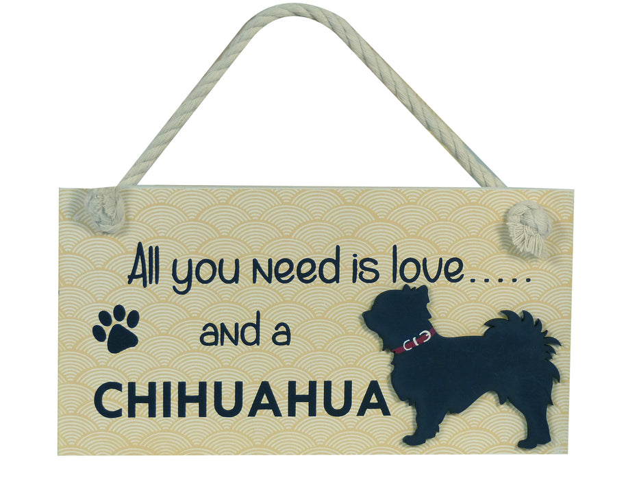 Wooden Pet Sign - Long Haired Chihuahua