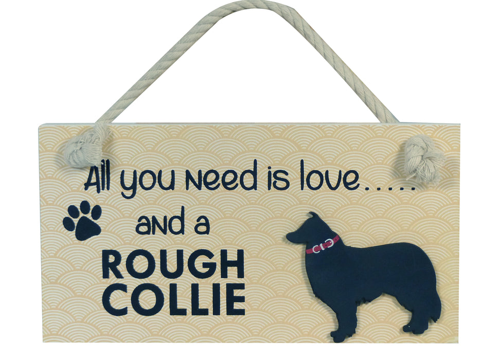 Wooden Pet Sign - Rough Collie