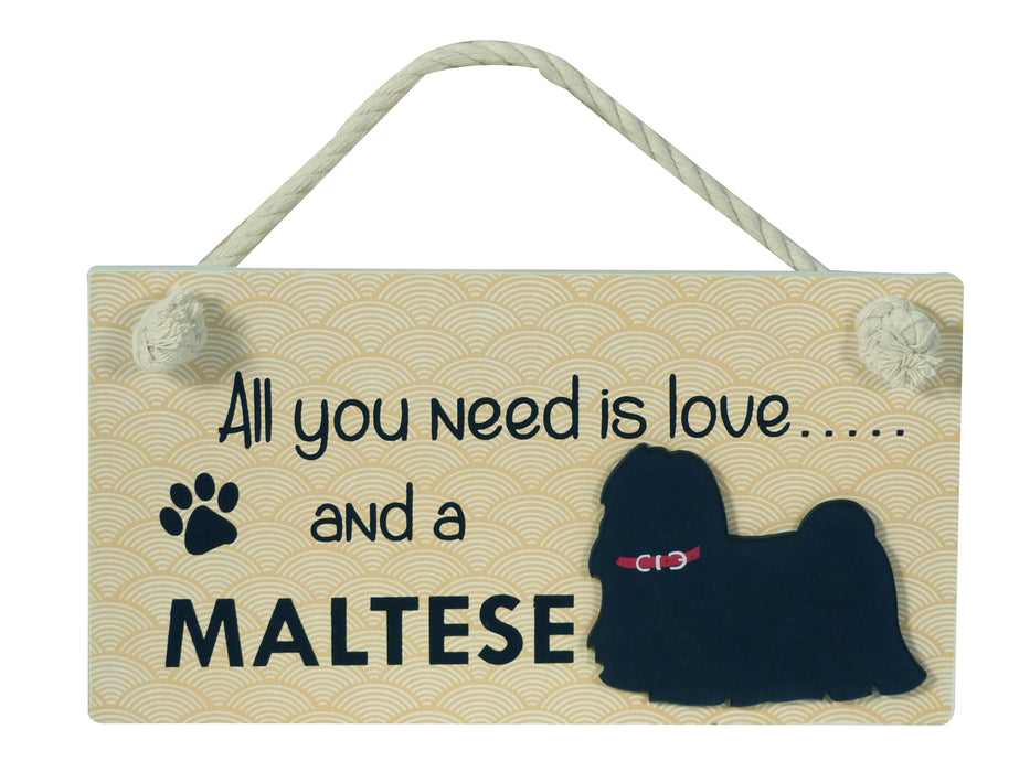 Wooden Pet Sign - Maltese