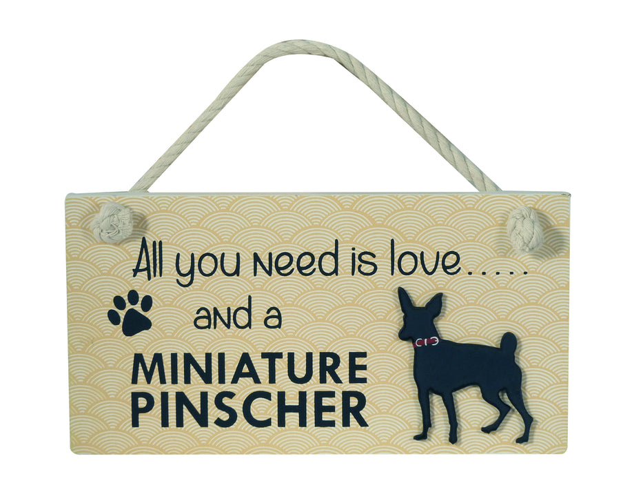 Wooden Pet Sign - Miniature Pinscher