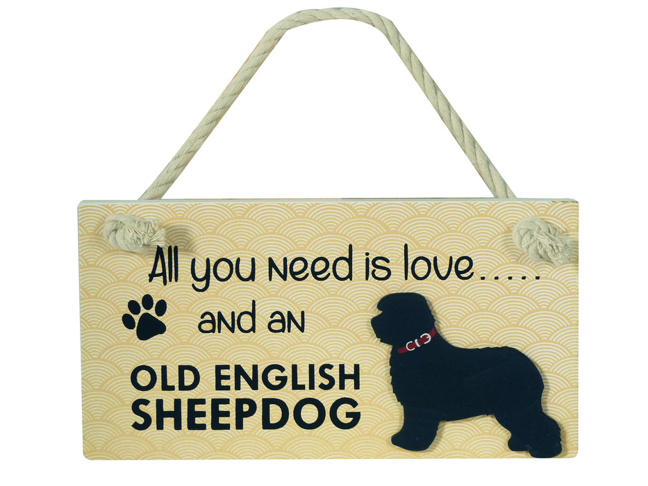 Wooden Pet Sign - Old English Sheepdog