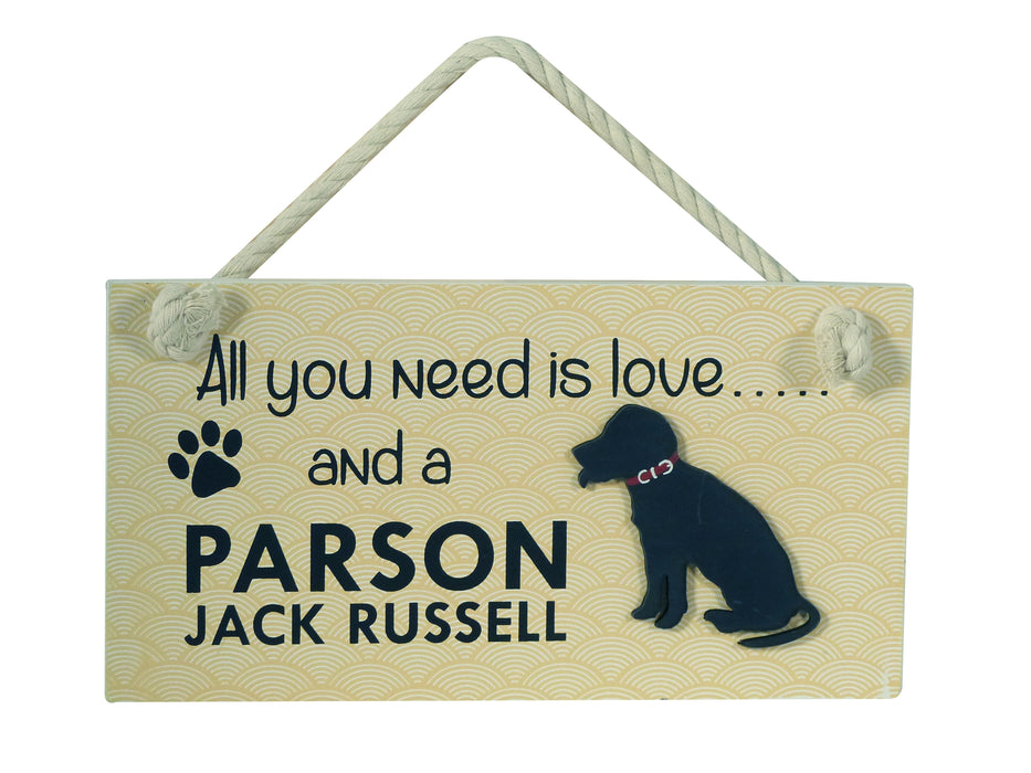 Wooden Pet Sign - Parson Jack Russell