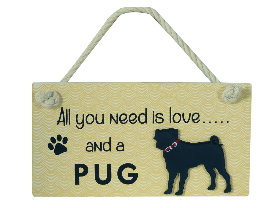 Wooden Pet Sign - Pug
