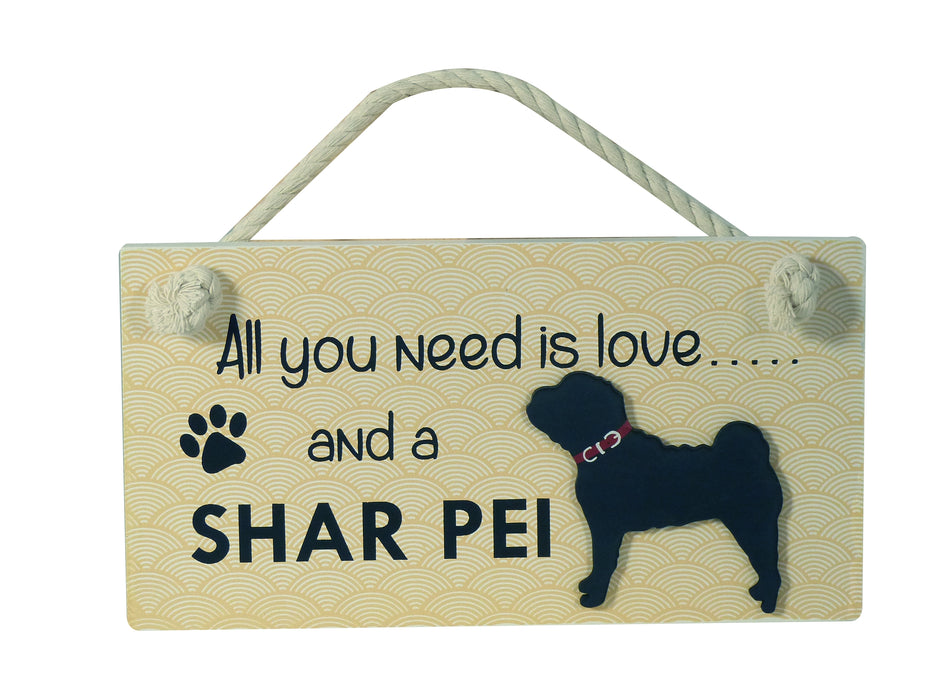 Wooden Pet Sign - Shar Pei