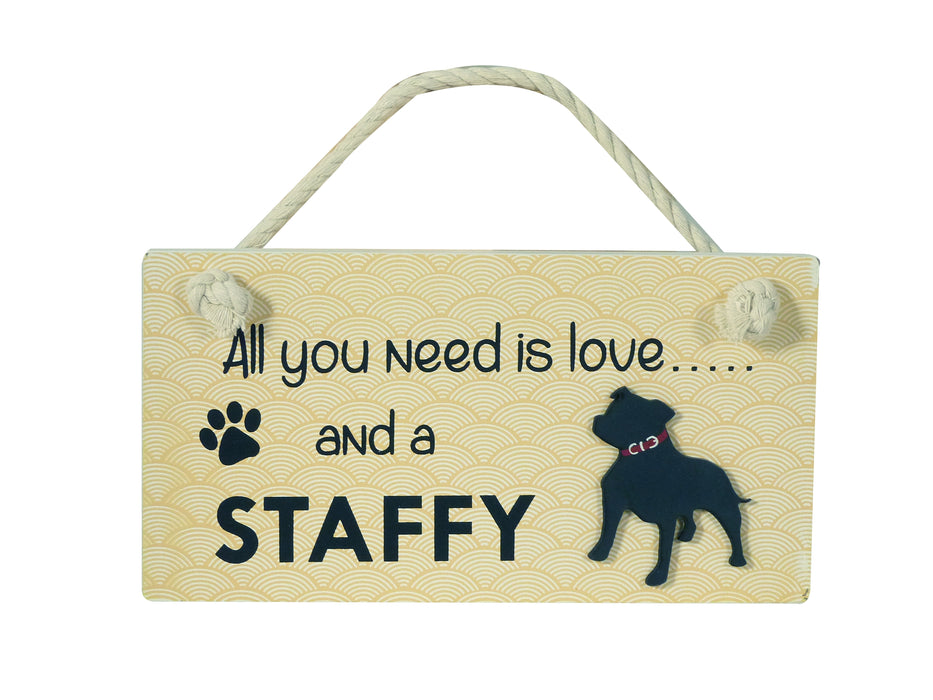Wooden Pet Sign - Staffordshire Bull Terrier