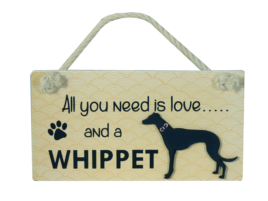 Wooden Pet Sign - Whippet