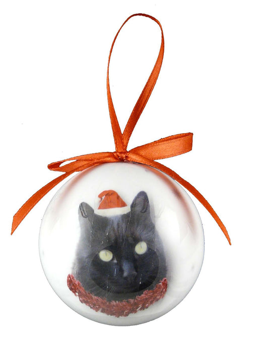 Christmas Cat Black Bauble