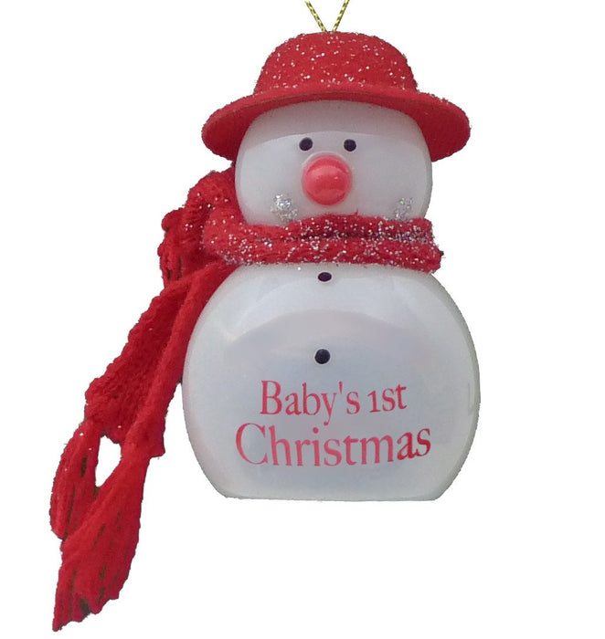 Baby's 1st Xmas Flashing Snowman - Red