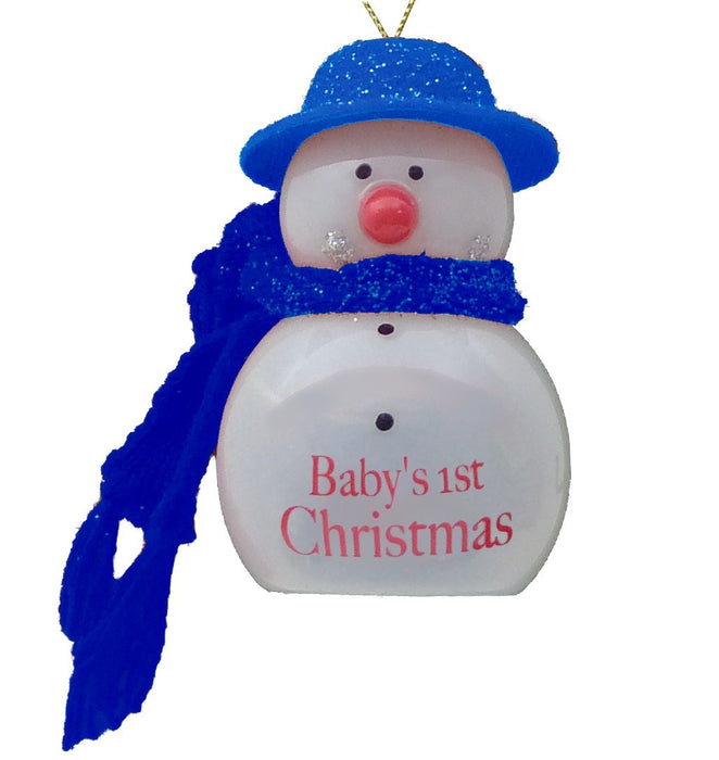 Baby's 1st Xmas Flashing Snowman - Blue
