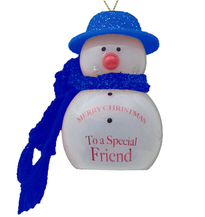 Special Friend Flashing Snowman - Blue
