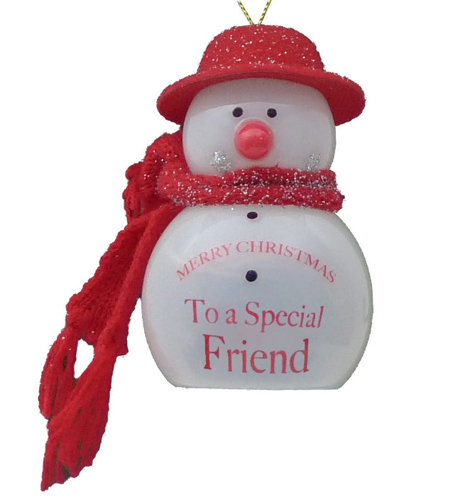 Special Friend Flashing Snowman - Red