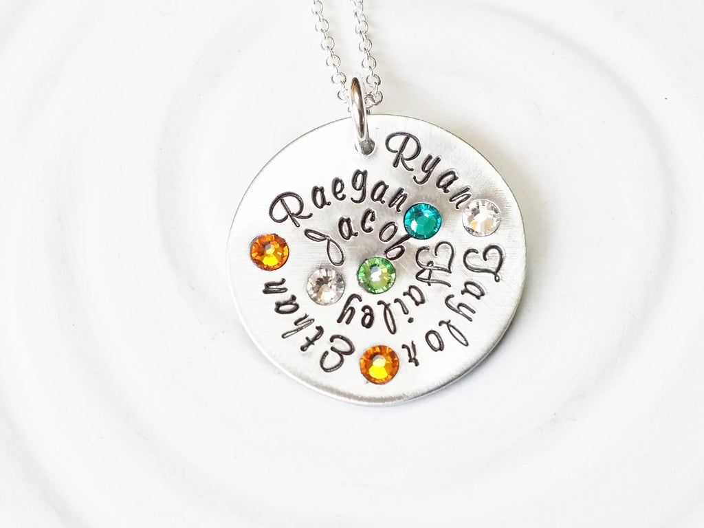 Grandmother's Necklace | Birthstone Name Necklace | Mother's Necklace