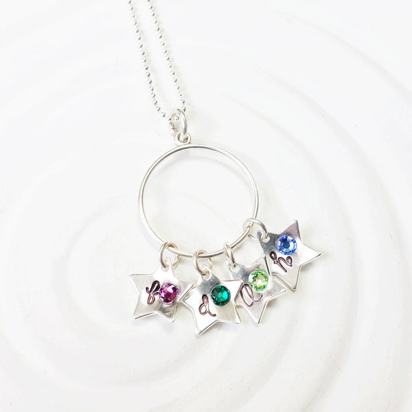 Sterling Silver Stars | Birthstone Initial Stars