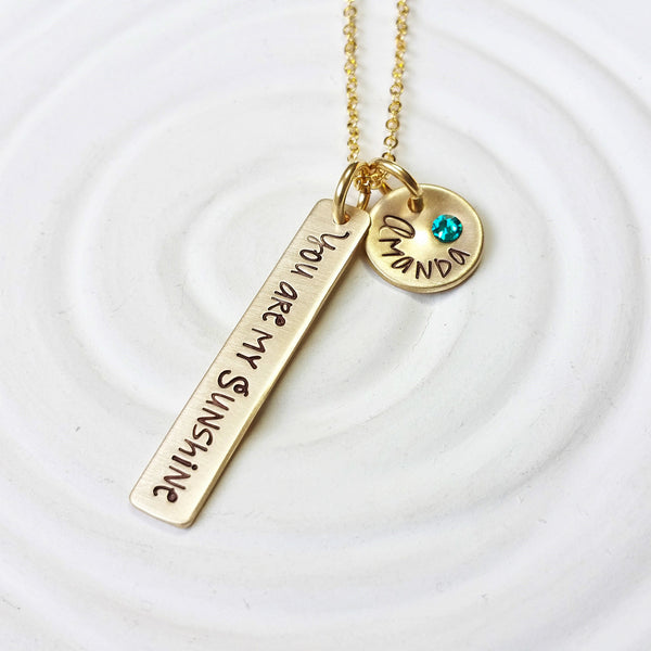 You Are My Sunshine | Birthstone Name Necklace
