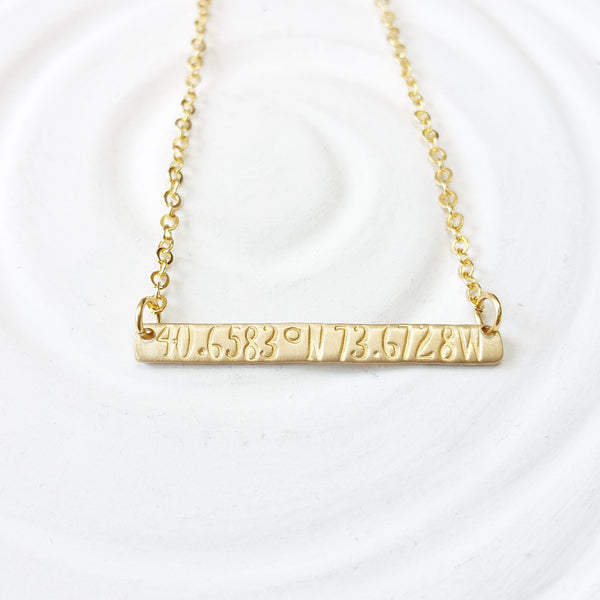 Itty Bitty Gold Bar Necklace | Coordinates Necklace