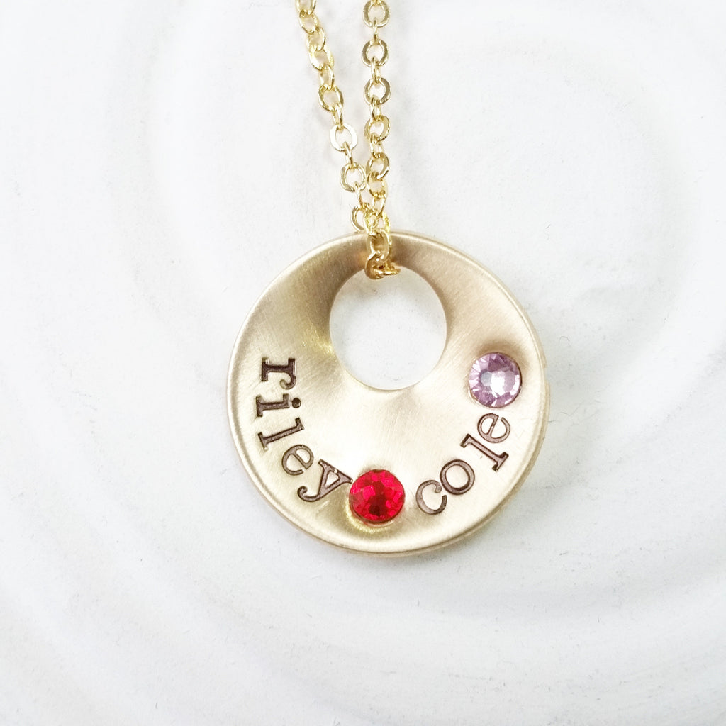Gold Floating Hole Necklace | Birthstone Name Necklace