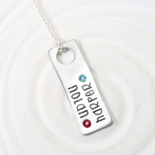 Floating Hole Tag Necklace | Two Name Birthstone Rectangle