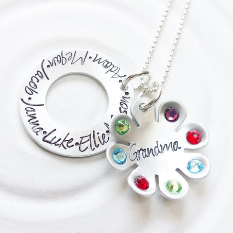 Birthstone Flower Necklace | Grandmother's Necklace