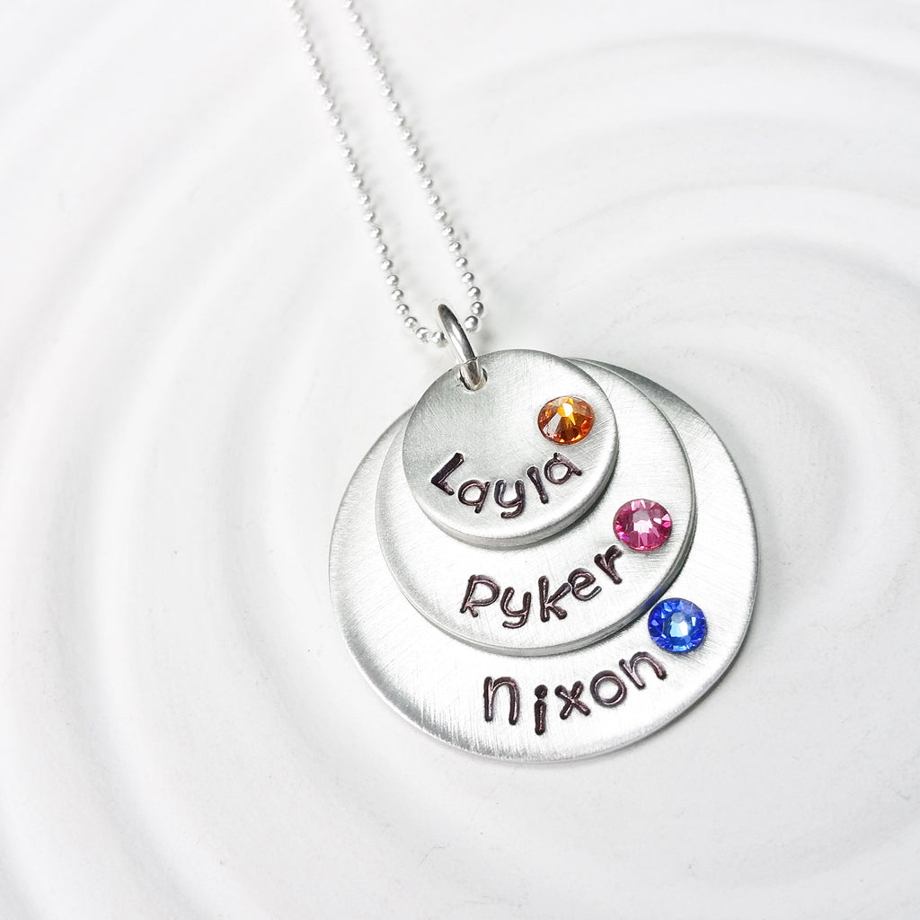 Stacked Disc Necklace | Mother's Birthstone Name Necklace