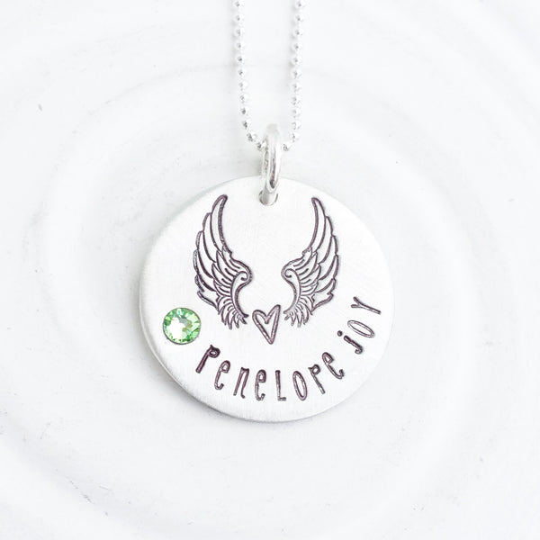 Angel Wings Birthstone Heart Necklace | Angel Baby Necklace