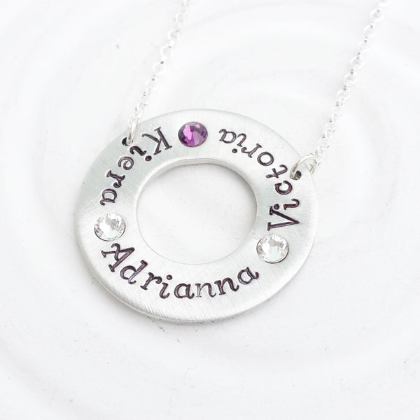 Fixed Washer Necklace | Name and Birthstone Circle Necklace