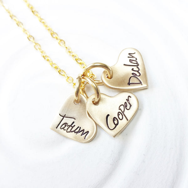 Itty Bitty Hearts Necklace | Mother's Name Necklace | Gold or Silver Options