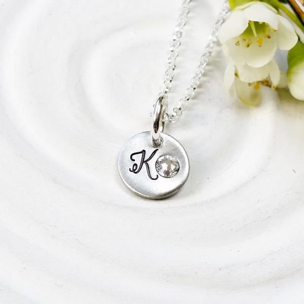 Birthstone Initial Necklace | Wedding Party Gift
