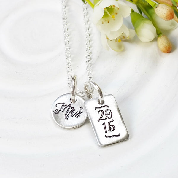 Mrs. Necklace | Wedding Date Necklace