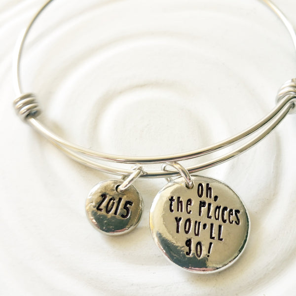 Oh, The Places You'll Go! | Adjustable Bangle Bracelet | Graduation Gift
