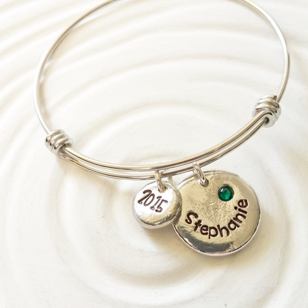 Name and Birthstone Bracelet | Graduation Year | Adjustable Bangle