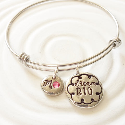 Dream Big | Adjustable Bangle Bracelet | Graduation Gift