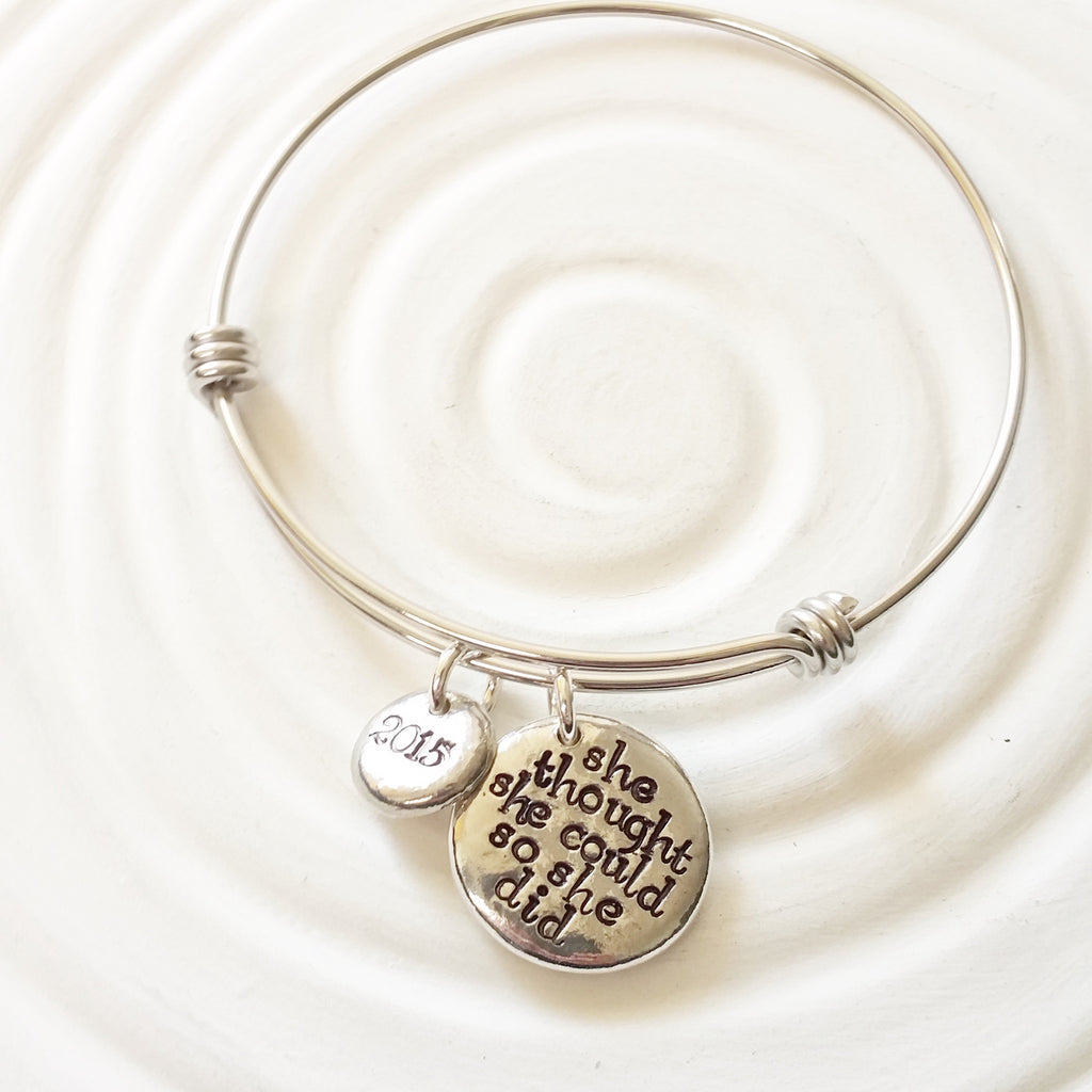 She Thought She Could So She Did | Adjustable Bangle Bracelet | Graduation Gift