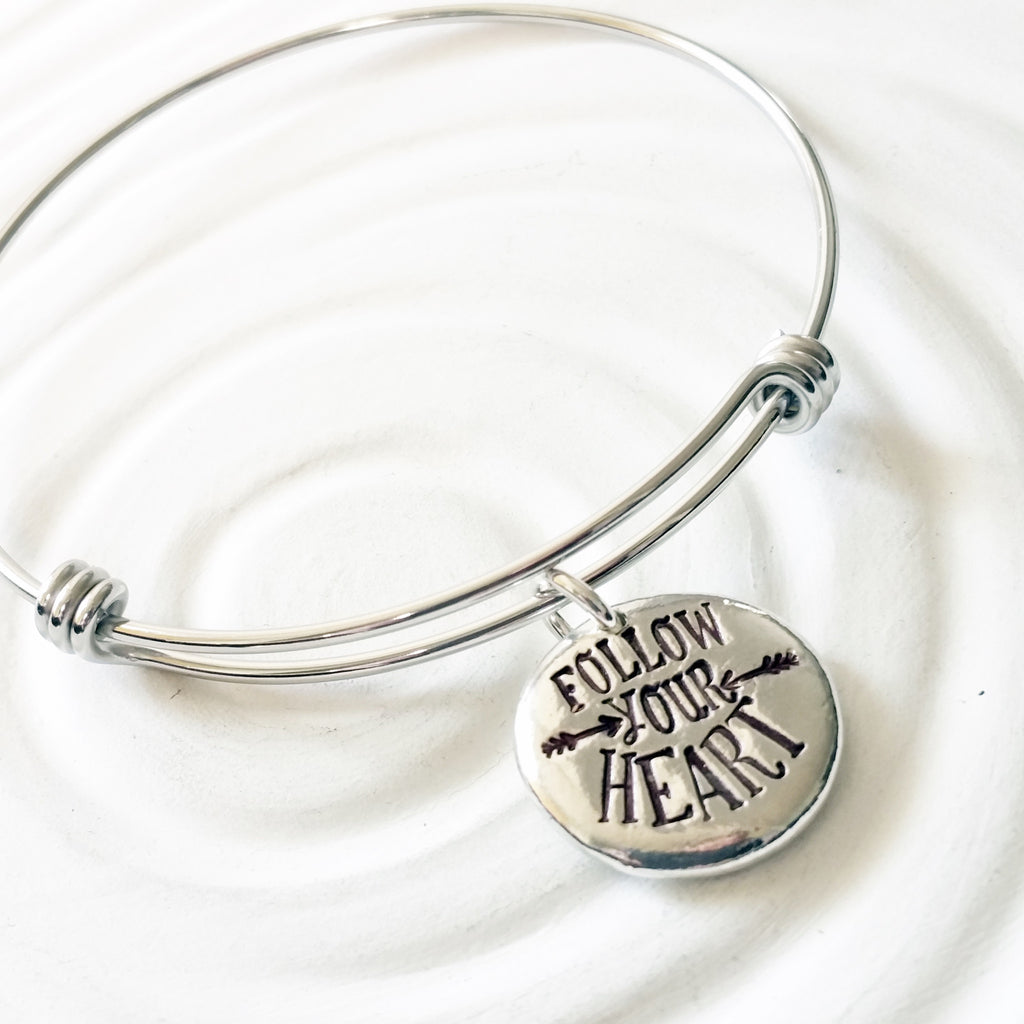 Follow Your Heart | Adjustable Bangle Bracelet | Graduation Gift