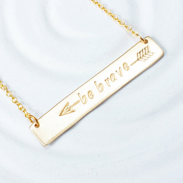 Arrow Bar Necklace | Be Brave | Golden Glow