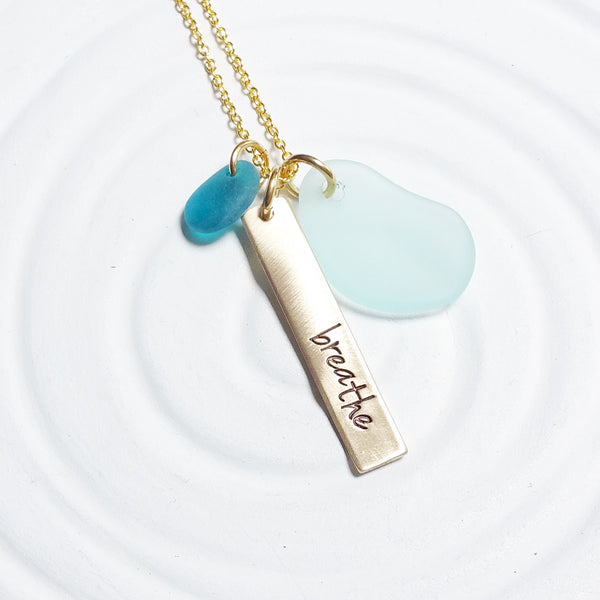 Breathe | Golden Glow Bar Necklace | Sea Glass Accents