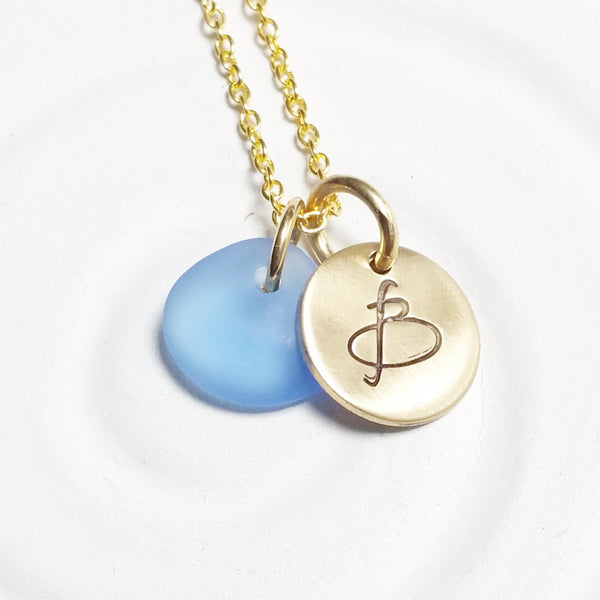 Initial Necklace | Golden Glow Disc | Sea Glass Pendant