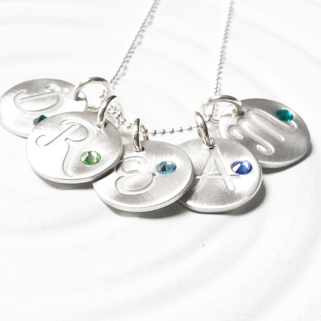 Initial and Birthstone Necklace | Minimalist Cursive Initial