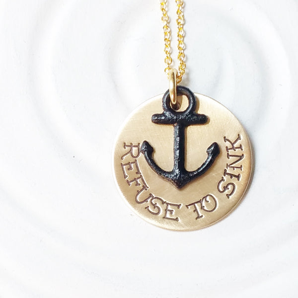 Refuse to Sink | Tattoo Necklace | Anchor Necklace
